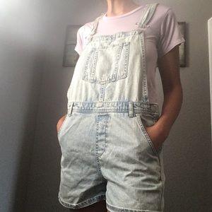 Topshop Denim Overall Shorts